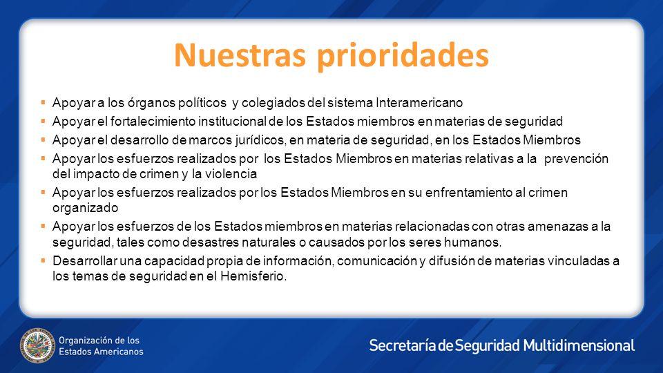 Nuestras prioridades Apoyar a los órganos políticos y colegiados del sistema Interamericano Apoyar el fortalecimiento institucional de los Estados miembros en materias de seguridad Apoyar el desarrollo de marcos jurídicos, en materia de seguridad, en los Estados Miembros Apoyar los esfuerzos realizados por los Estados Miembros en materias relativas a la prevención del impacto de crimen y la violencia Apoyar los esfuerzos realizados por los Estados Miembros en su enfrentamiento al crimen organizado Apoyar los esfuerzos de los Estados miembros en materias relacionadas con otras amenazas a la seguridad, tales como desastres naturales o causados por los seres humanos.