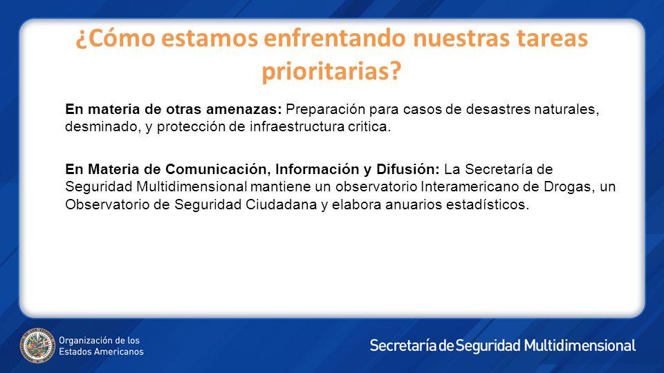 En materia de otras amenazas: Preparación para casos de desastres naturales, desminado, y protección de infraestructura critica.