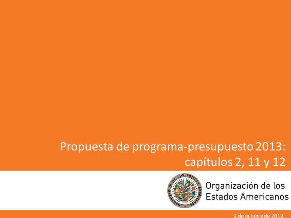 1 Propuesta de programa-presupuesto 2013: capítulos 2, 11 y 12 2 de octubre de 2012