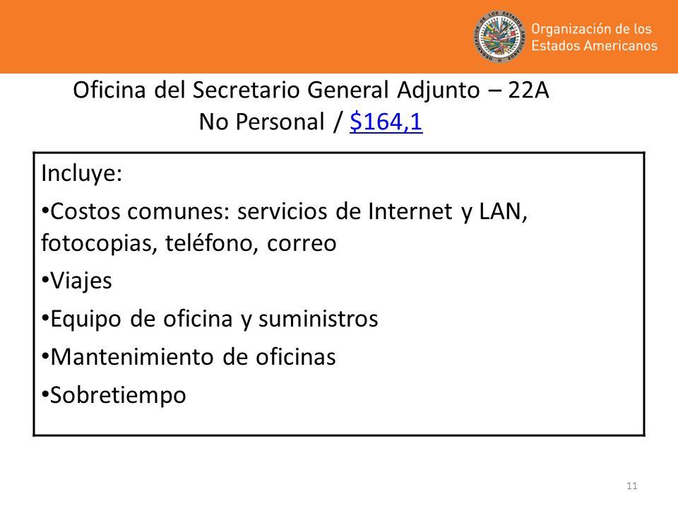 11 Oficina del Secretario General Adjunto – 22A No Personal / $164,1 Incluye: Costos comunes: servicios de Internet y LAN, fotocopias, teléfono, corre
