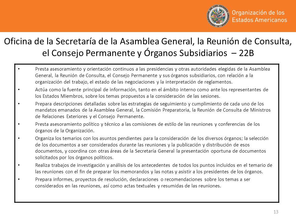 13 Oficina de la Secretaría de la Asamblea General, la Reunión de Consulta, el Consejo Permanente y Órganos Subsidiarios – 22B Presta asesoramiento y