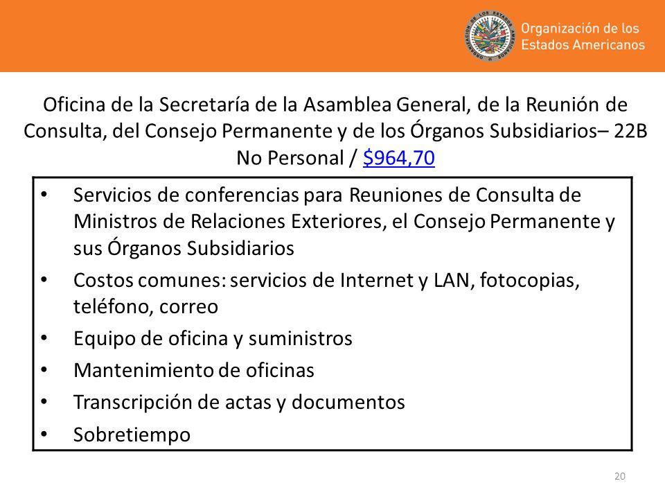 20 Oficina de la Secretaría de la Asamblea General, de la Reunión de Consulta, del Consejo Permanente y de los Órganos Subsidiarios– 22B No Personal /