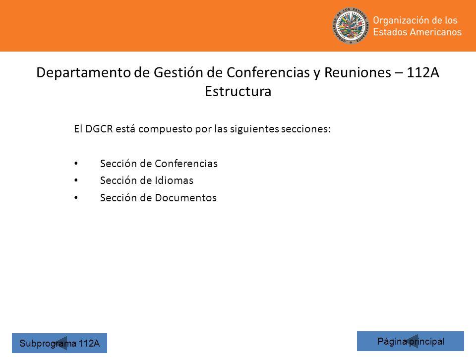 23 Departamento de Gestión de Conferencias y Reuniones – 112A Estructura Página principal Subprograma 112A El DGCR está compuesto por las siguientes s