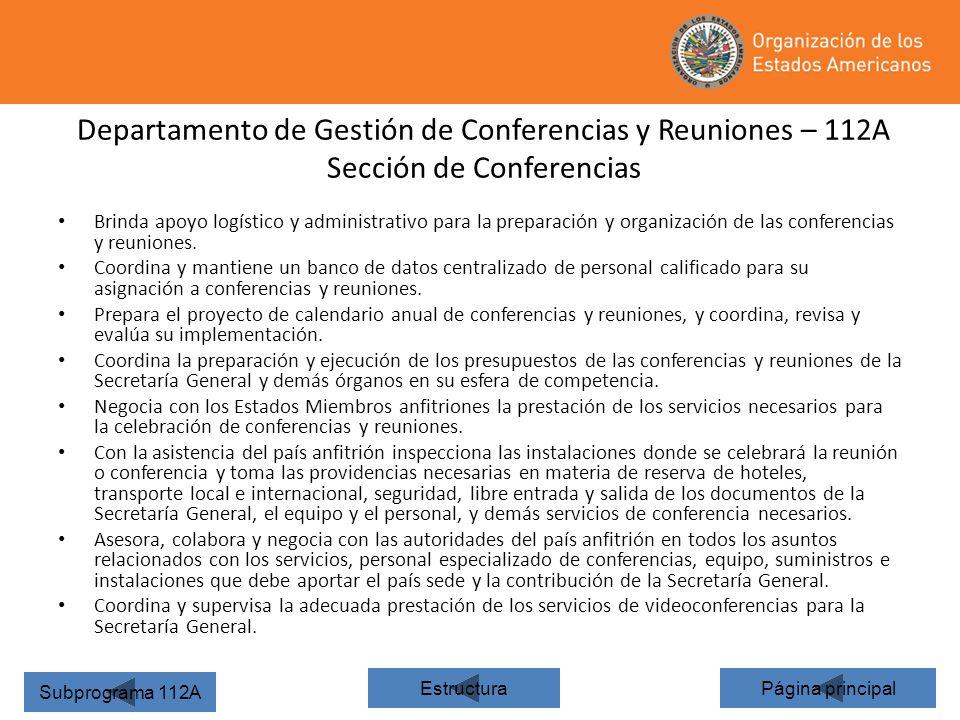 24 Departamento de Gestión de Conferencias y Reuniones – 112A Sección de Conferencias Página principal Subprograma 112A Estructura Brinda apoyo logíst