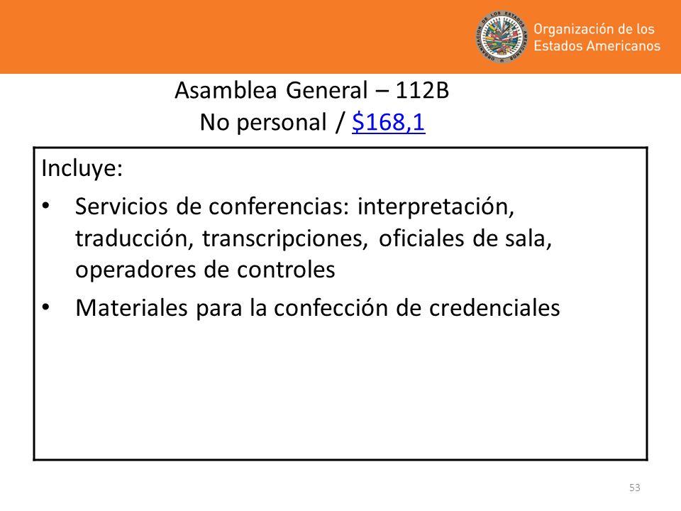 53 Asamblea General – 112B No personal / $168,1 Incluye: Servicios de conferencias: interpretación, traducción, transcripciones, oficiales de sala, op