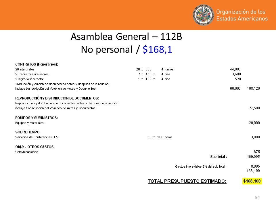 54 Asamblea General – 112B No personal / $168,1