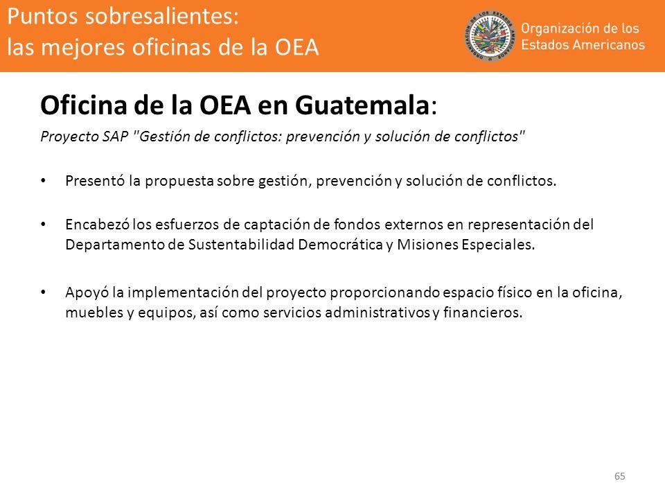 65 Puntos sobresalientes: las mejores oficinas de la OEA Oficina de la OEA en Guatemala: Proyecto SAP