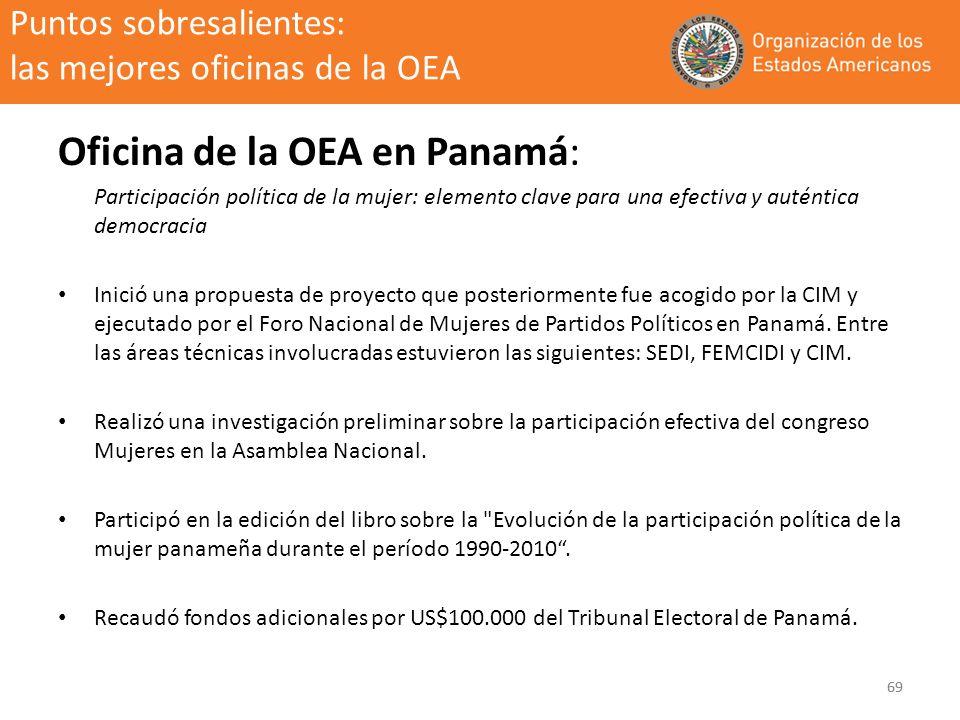 69 Puntos sobresalientes: las mejores oficinas de la OEA Oficina de la OEA en Panamá: Participación política de la mujer: elemento clave para una efec