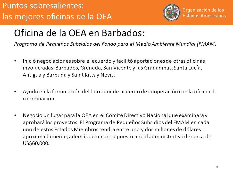70 Puntos sobresalientes: las mejores oficinas de la OEA Oficina de la OEA en Barbados: Programa de Pequeños Subsidios del Fondo para el Medio Ambient