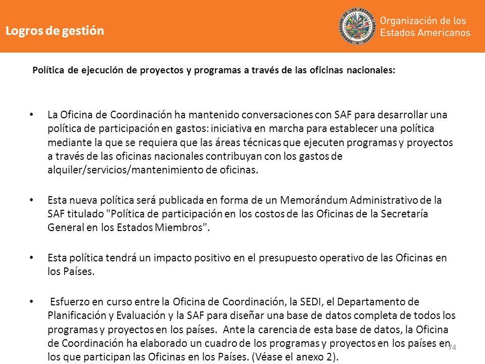 74 Logros de gestión La Oficina de Coordinación ha mantenido conversaciones con SAF para desarrollar una política de participación en gastos: iniciati