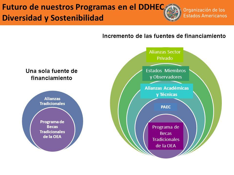 Futuro de nuestros Programas en el DDHEC Diversidad y Sostenibilidad Incremento de las fuentes de financiamiento Una sola fuente de financiamiento Alianzas Tradicionales Programa de Becas Tradicionales de la OEA Alianzas Sector Privado PAEC Estados Miembros y Observadores Programa de Becas Tradicionales de la OEA Alianzas Académicas y Técnicas