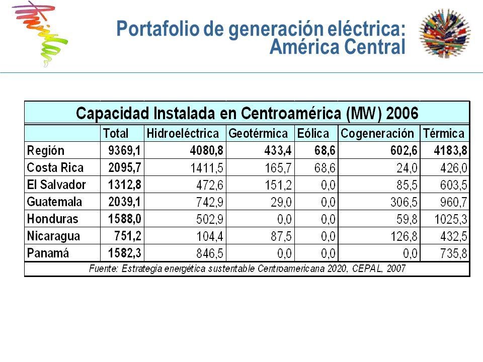 Portafolio de generación eléctrica: América Central