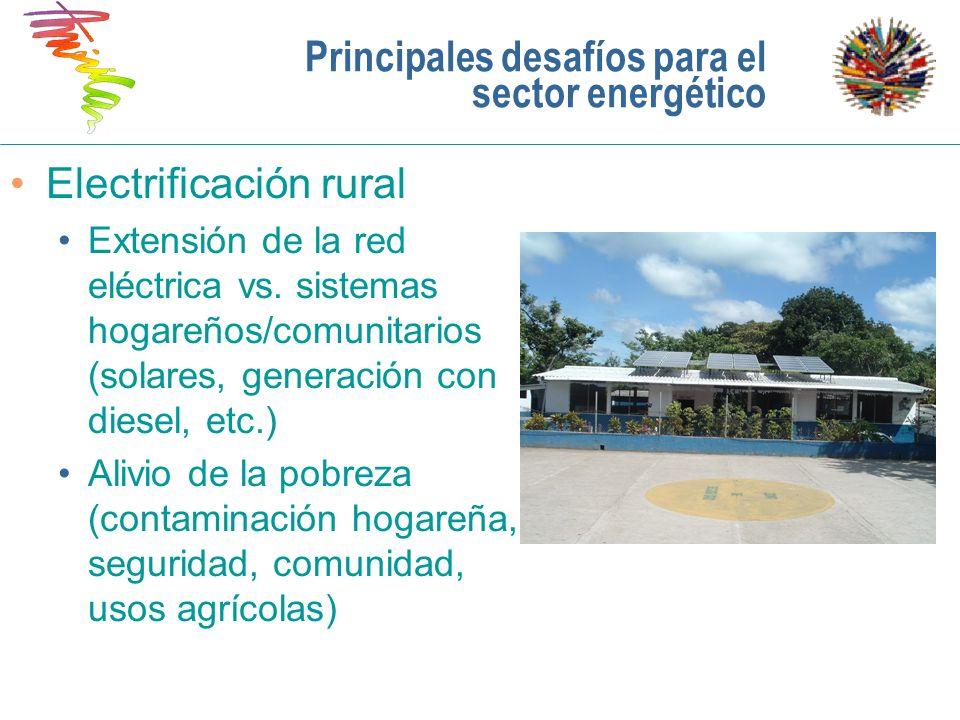 Principales desafíos para el sector energético Electrificación rural Extensión de la red eléctrica vs. sistemas hogareños/comunitarios (solares, gener