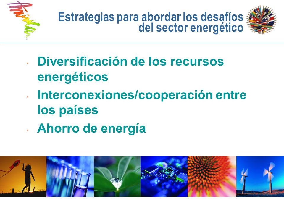 Estrategias para abordar los desafíos del sector energético Diversificación de los recursos energéticos Interconexiones/cooperación entre los países A
