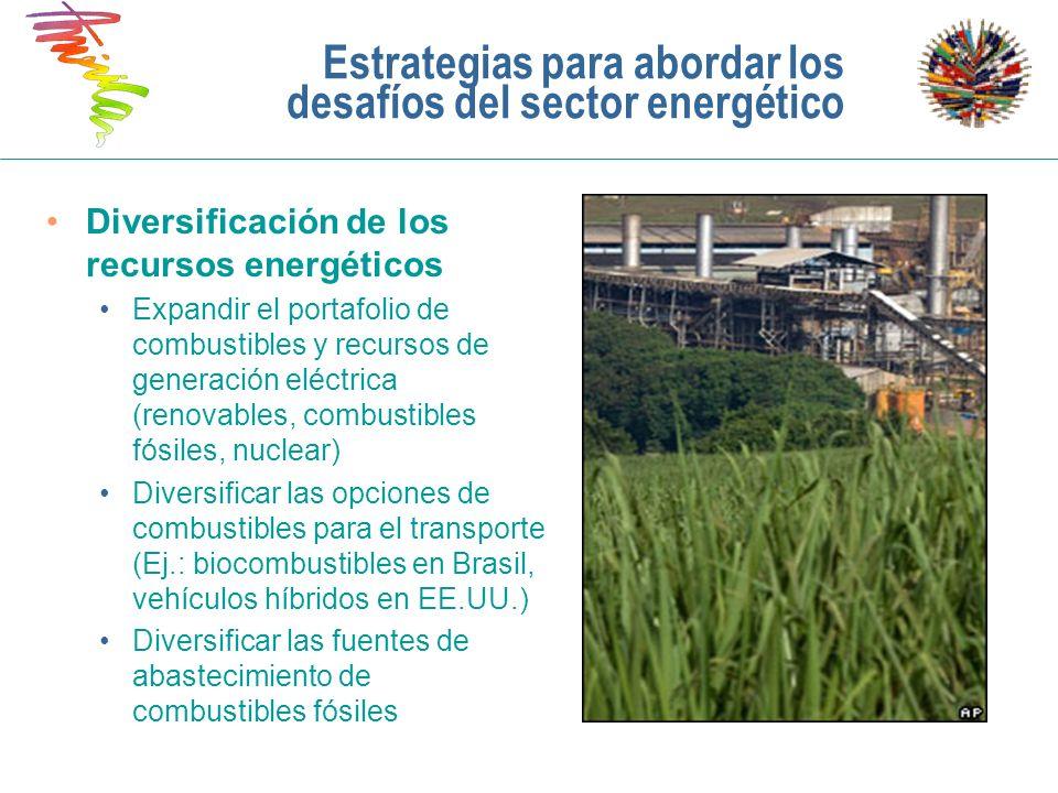 Estrategias para abordar los desafíos del sector energético Diversificación de los recursos energéticos Expandir el portafolio de combustibles y recur