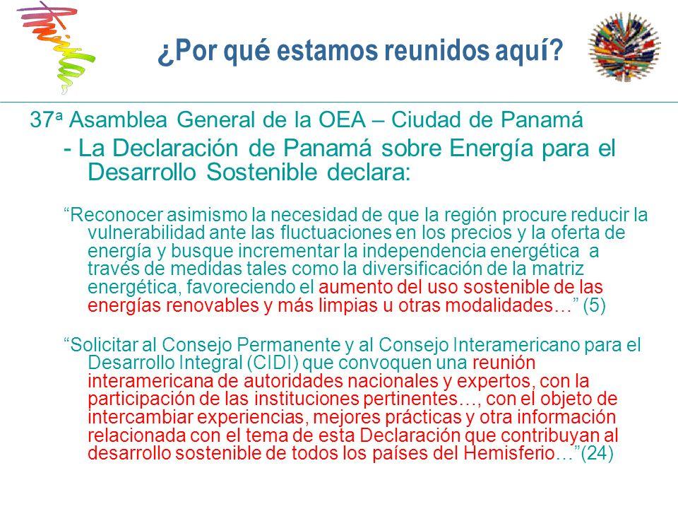 Principales desafíos para el sector energético Electricidad conectada a la red Abordar necesidades de generación Abordar la creciente demanda (capacidad adicional de generación, interconexiones multinacionales) Extensión de las líneas de transmisión y distribución Fiabilidad del abastecimiento de combustible (gasoductos, sequía, interrupciones en el abastecimiento de petróleo) Alza/fluctuación de los precios de los combustibles fósiles (establecidos por los mercados internacionales) Dependencia de la importación en gran parte de la región Opciones de energía renovable con alto costo de capital Aumento de la eficiencia en la generación y el uso de energía