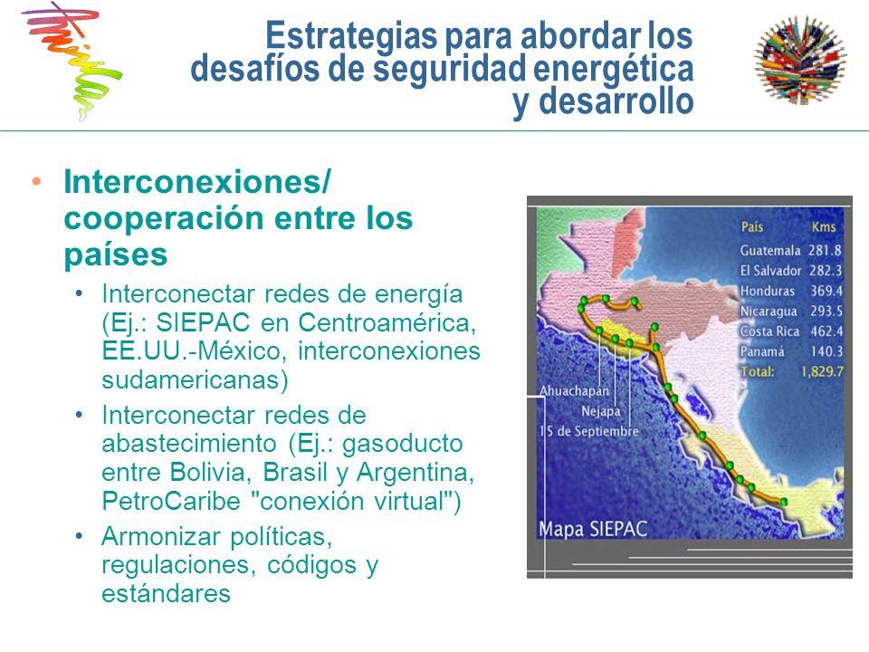 Estrategias para abordar los desafíos de seguridad energética y desarrollo Interconexiones/ cooperación entre los países Interconectar redes de energí