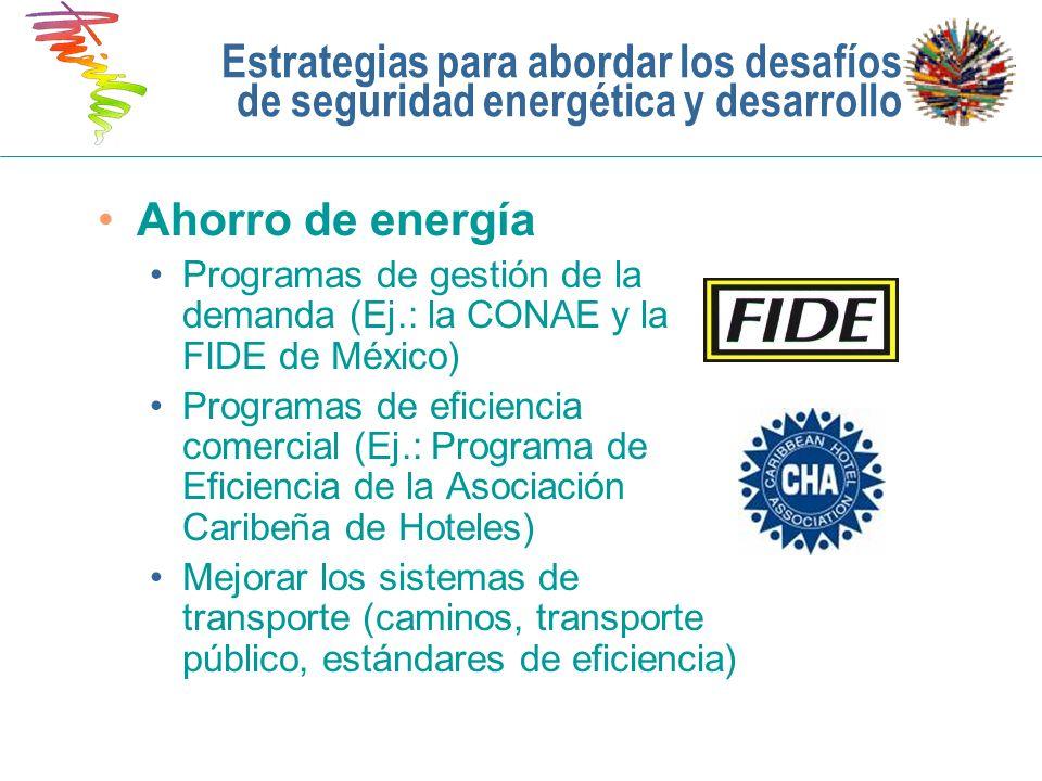 Estrategias para abordar los desafíos de seguridad energética y desarrollo Ahorro de energía Programas de gestión de la demanda (Ej.: la CONAE y la FI