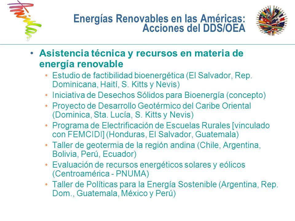 Asistencia técnica y recursos en materia de energía renovable Estudio de factibilidad bioenergética (El Salvador, Rep. Dominicana, Haití, S. Kitts y N
