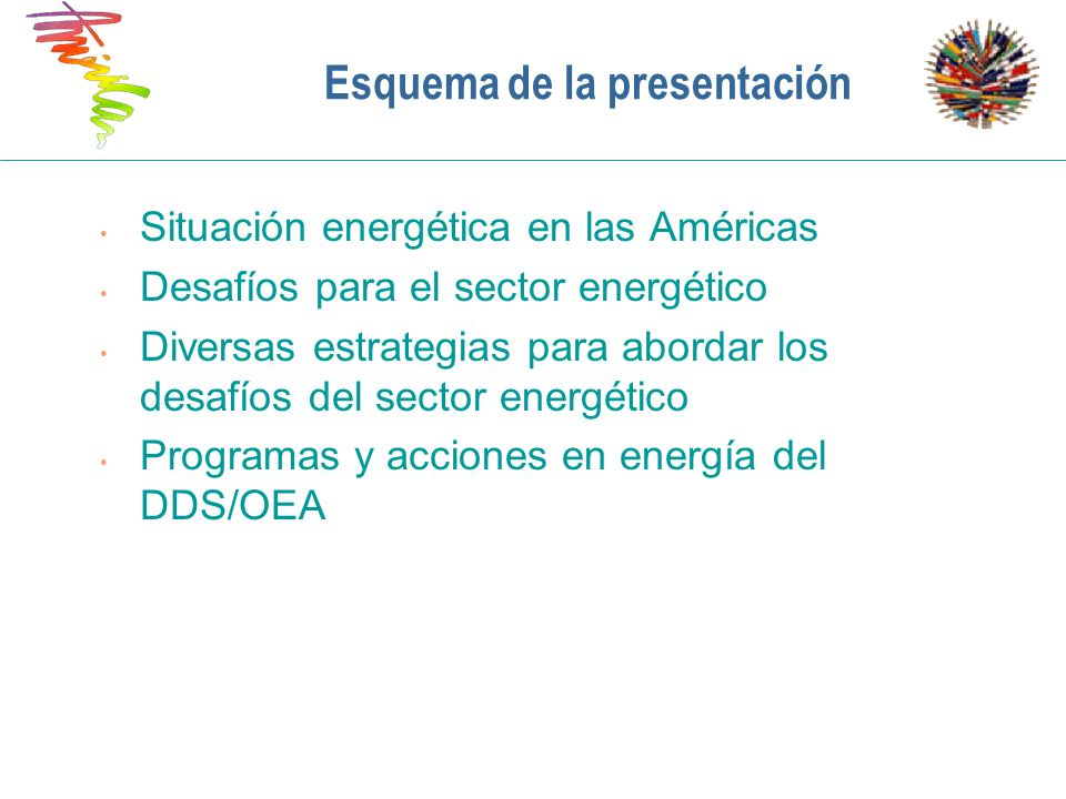 Esquema de la presentación Situación energética en las Américas Desafíos para el sector energético Diversas estrategias para abordar los desafíos del