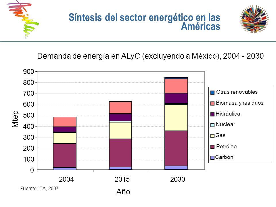 Principales características del sector eléctrico en las Américas: Oferta y demanda Consideraciones generales relativas a la generación eléctrica en las Américas América Latina: Generación eléctrica dominada por hidráulica de gran escala (59%), gas natural y petróleo/diesel (31%) y 7% es nuclear Caribe: Generación basada casi exclusivamente en el petróleo/diesel (petróleo importado) 93%