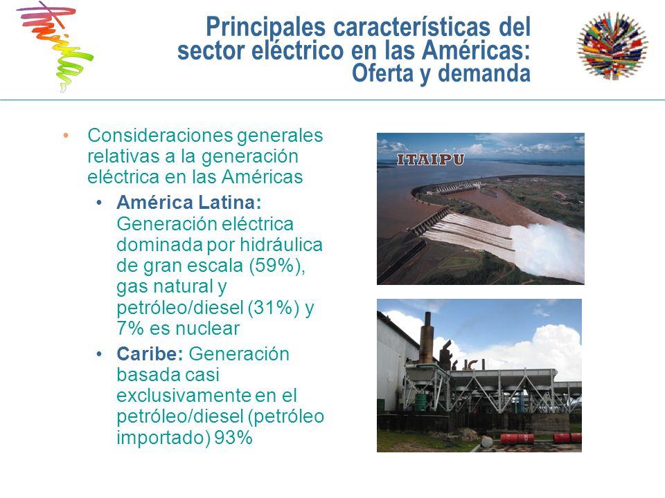 Principales características del sector eléctrico en las Américas: Oferta y demanda Consideraciones generales relativas a la generación eléctrica en la