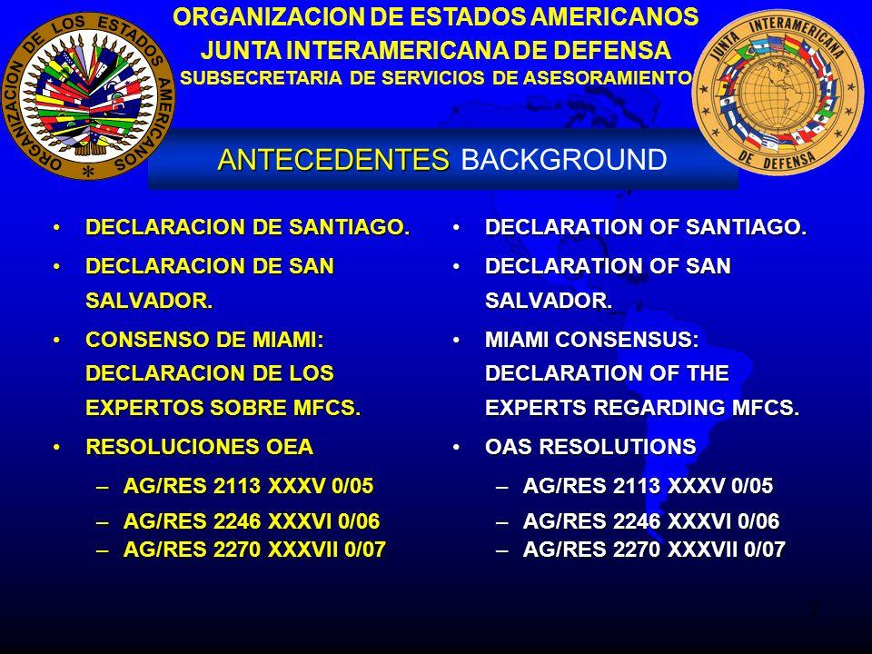 2 ORGANIZACION DE ESTADOS AMERICANOS JUNTA INTERAMERICANA DE DEFENSA SUBSECRETARIA DE SERVICIOS DE ASESORAMIENTO ANTECEDENTES ANTECEDENTES BACKGROUND DECLARACION DE SANTIAGO.DECLARACION DE SANTIAGO.