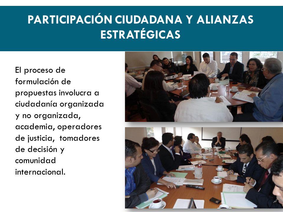 El proceso de formulación de propuestas involucra a ciudadanía organizada y no organizada, academia, operadores de justicia, tomadores de decisión y comunidad internacional.
