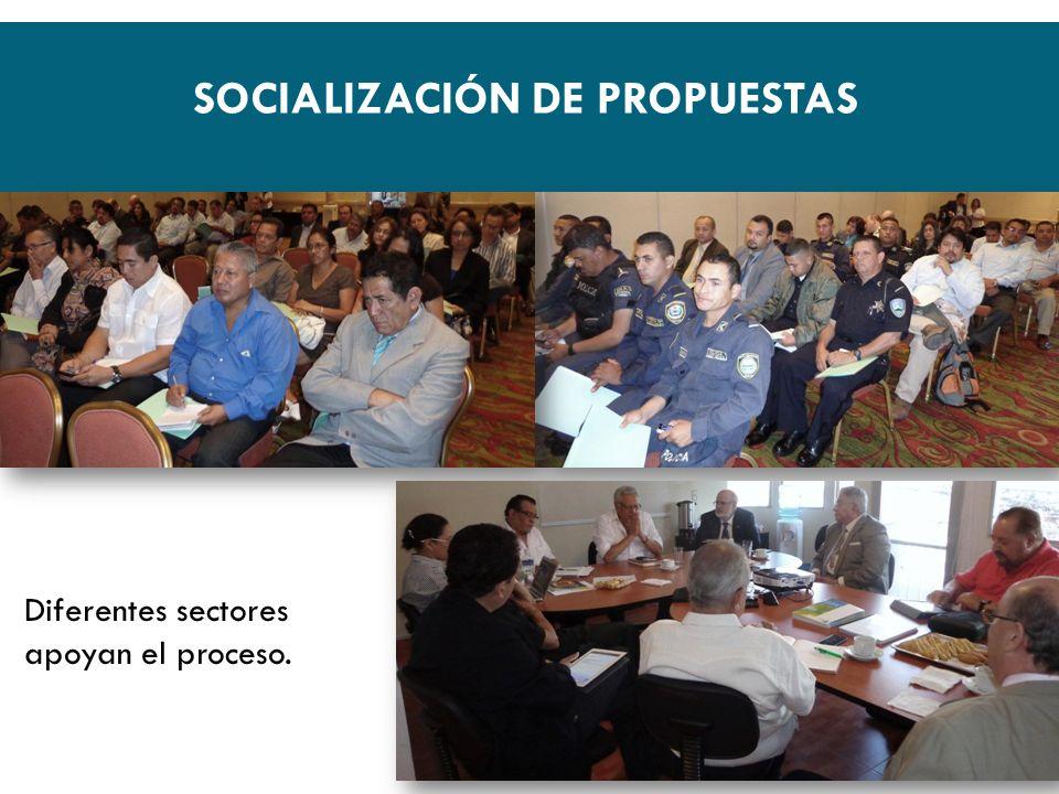 SOCIALIZACIÓN DE PROPUESTAS Diferentes sectores apoyan el proceso.
