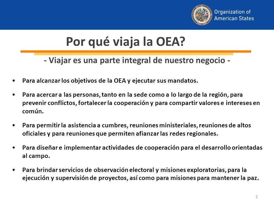 2 Por qué viaja la OEA. Para alcanzar los objetivos de la OEA y ejecutar sus mandatos.