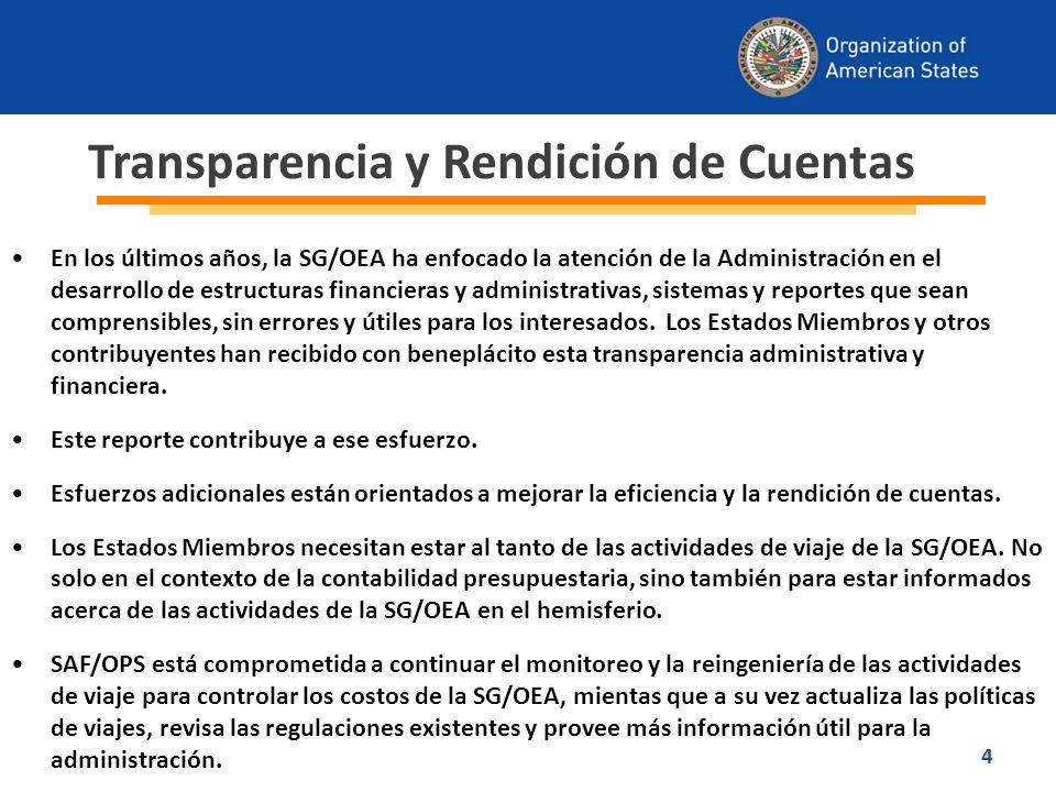 15 Como parte del plan estratégico de trabajo de SAF/OPS, se planea establecer un módulo dedicado a la administración de viajes que permita integrar los planes trimestrales al proceso de reingeniería.
