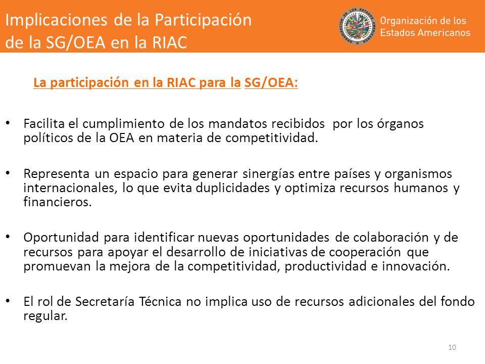 Facilita el cumplimiento de los mandatos recibidos por los órganos políticos de la OEA en materia de competitividad. Representa un espacio para genera
