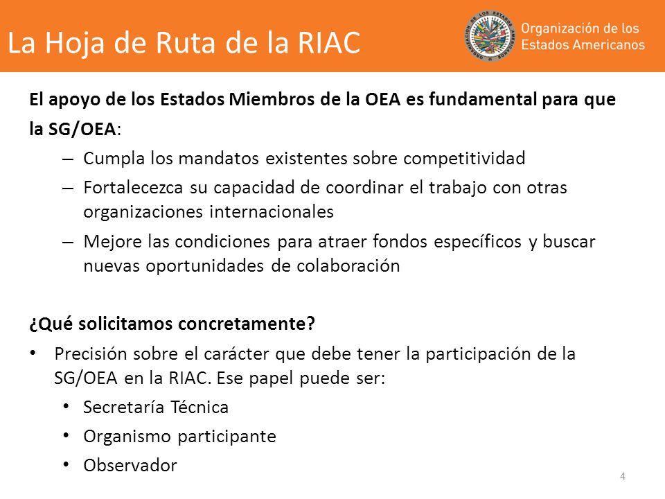 4 El apoyo de los Estados Miembros de la OEA es fundamental para que la SG/OEA: – Cumpla los mandatos existentes sobre competitividad – Fortalecezca su capacidad de coordinar el trabajo con otras organizaciones internacionales – Mejore las condiciones para atraer fondos específicos y buscar nuevas oportunidades de colaboración ¿Qué solicitamos concretamente.