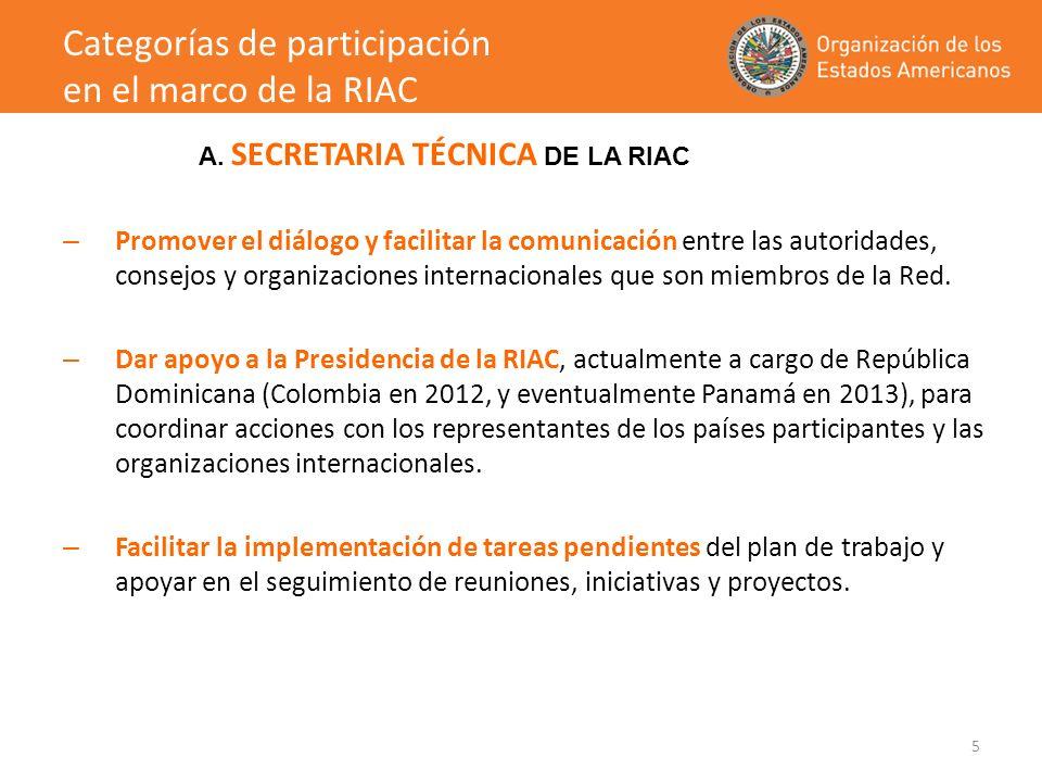 6 – Participar en las actividades de la RIAC – Apoyar con recursos financieros y/o técnicos el diseño e implementación de actividades de cooperación en temas de competitividad, productividad e innovación entre los países miembros de la RIAC – Producir y/o financiar estudios, compilación de mejores prácticas y otros materiales de interés para los países miembros de la RIAC – Asistir a las actividades de la RIAC sin involucramiento directo en las iniciativas, proyectos o diálogo de políticas públicas.