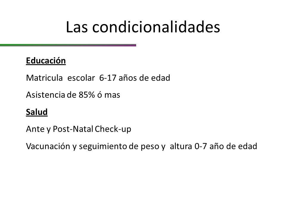 Las condicionalidades Educación Matricula escolar 6-17 años de edad Asistencia de 85% ó mas Salud Ante y Post-Natal Check-up Vacunación y seguimiento de peso y altura 0-7 año de edad
