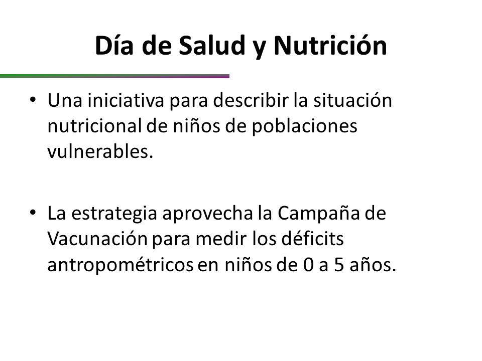 Día de Salud y Nutrición Una iniciativa para describir la situación nutricional de niños de poblaciones vulnerables.