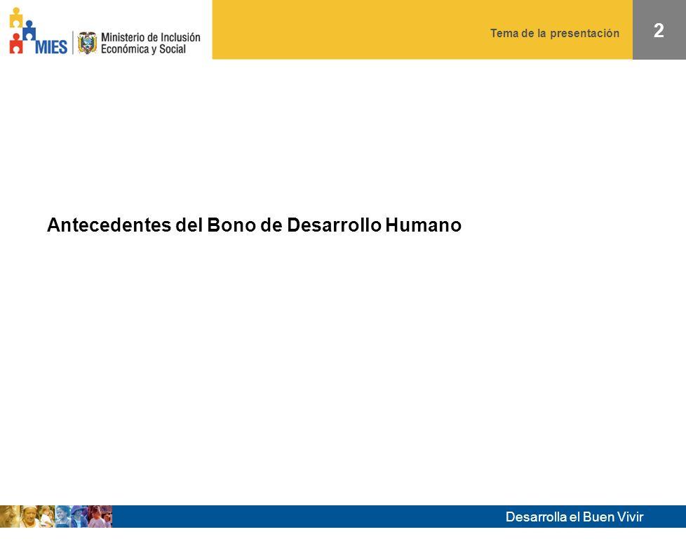 Tema de la presentación Desarrolla el Buen Vivir 1 Diciembre 2008 El Bono de Desarrollo Humano en el Ecuador Preparado por: Mauricio León Guzmán y David Alomía Diciembre 2008