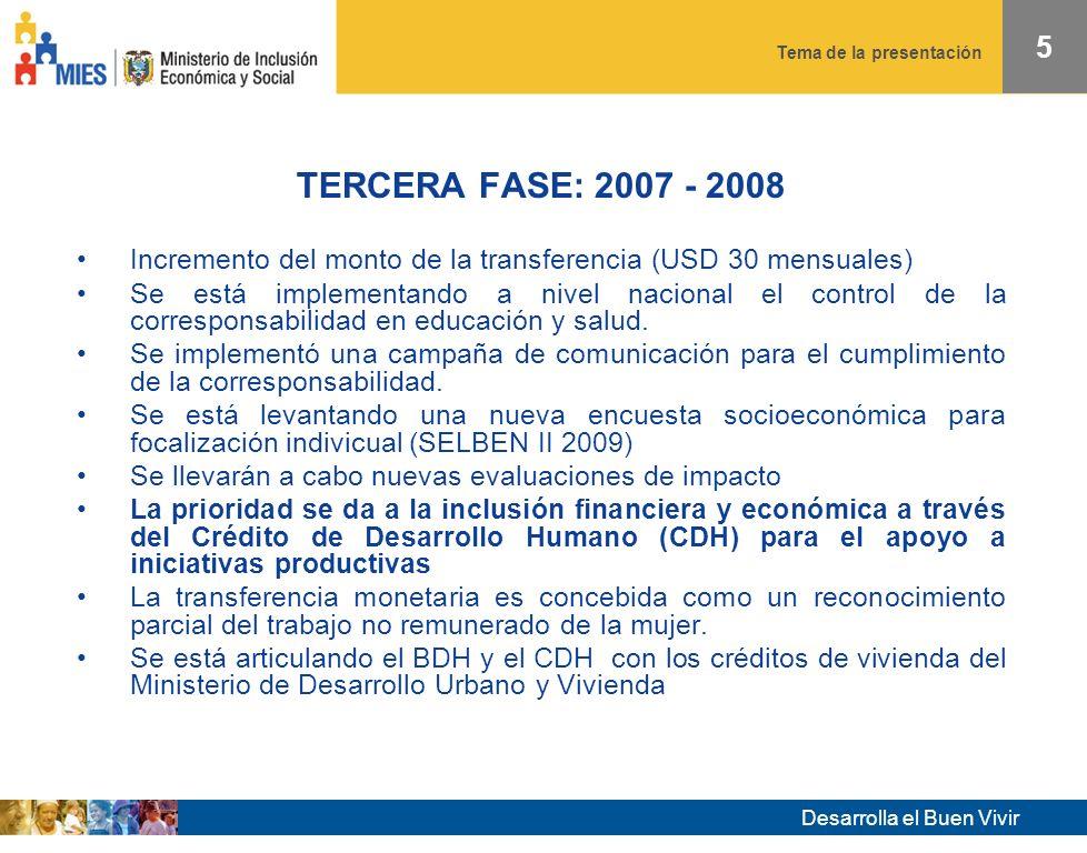 Desarrolla el Buen Vivir Tema de la presentación 5 TERCERA FASE: 2007 - 2008 Incremento del monto de la transferencia (USD 30 mensuales) Se está implementando a nivel nacional el control de la corresponsabilidad en educación y salud.