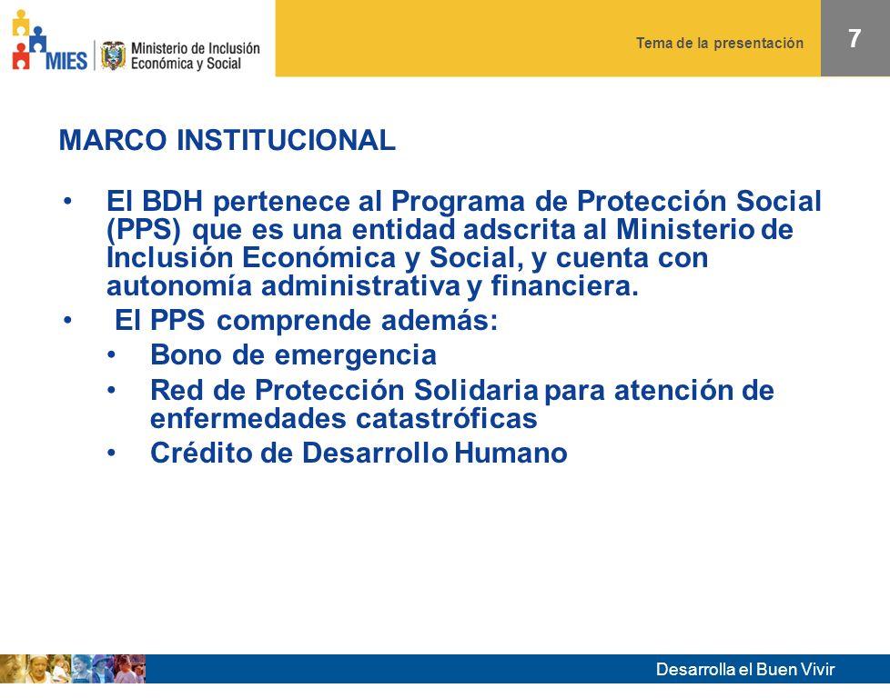 Desarrolla el Buen Vivir Tema de la presentación MARCO INSTITUCIONAL 7 El BDH pertenece al Programa de Protección Social (PPS) que es una entidad adscrita al Ministerio de Inclusión Económica y Social, y cuenta con autonomía administrativa y financiera.