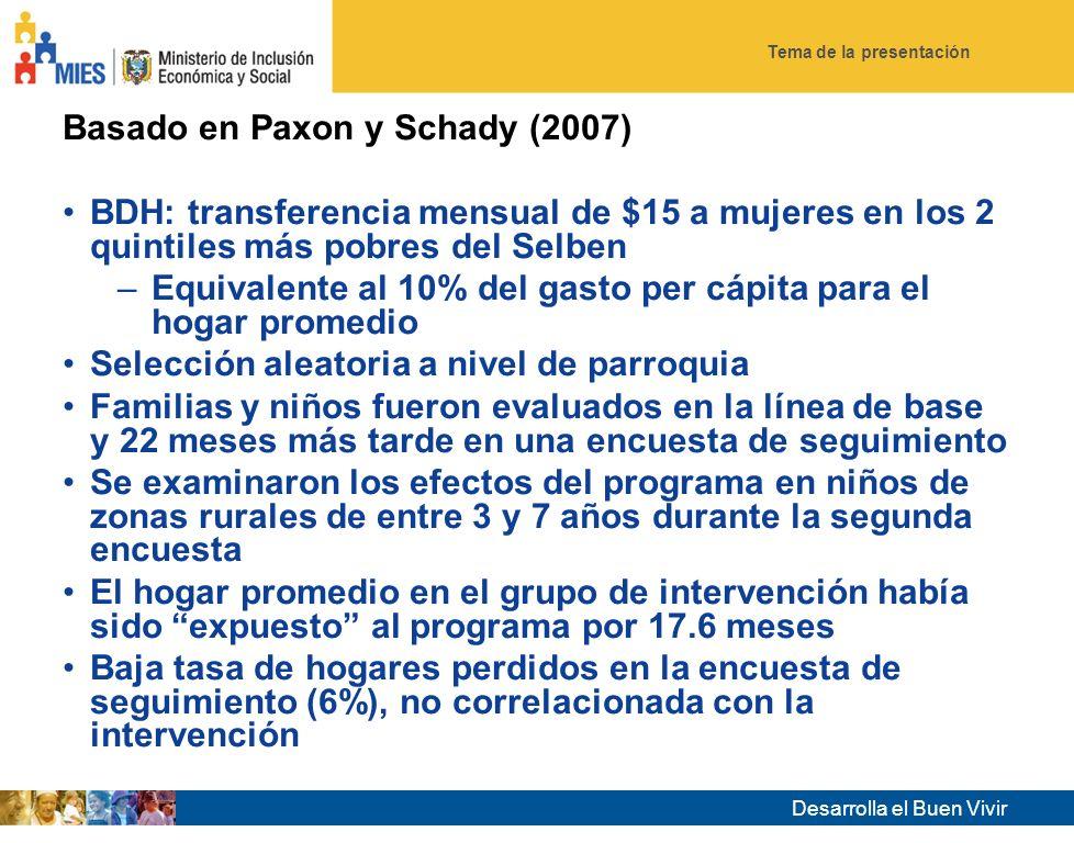 Tema de la presentación Desarrolla el Buen Vivir 28 Impacto del Bono de Desarrollo Humano en salud