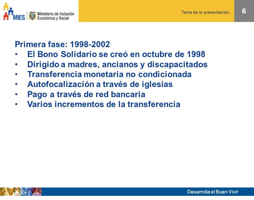 Desarrolla el Buen Vivir Tema de la presentación 6 Primera fase: 1998-2002 El Bono Solidario se creó en octubre de 1998 Dirigido a madres, ancianos y discapacitados Transferencia monetaria no condicionada Autofocalización a través de iglesias Pago a través de red bancaria Varios incrementos de la transferencia