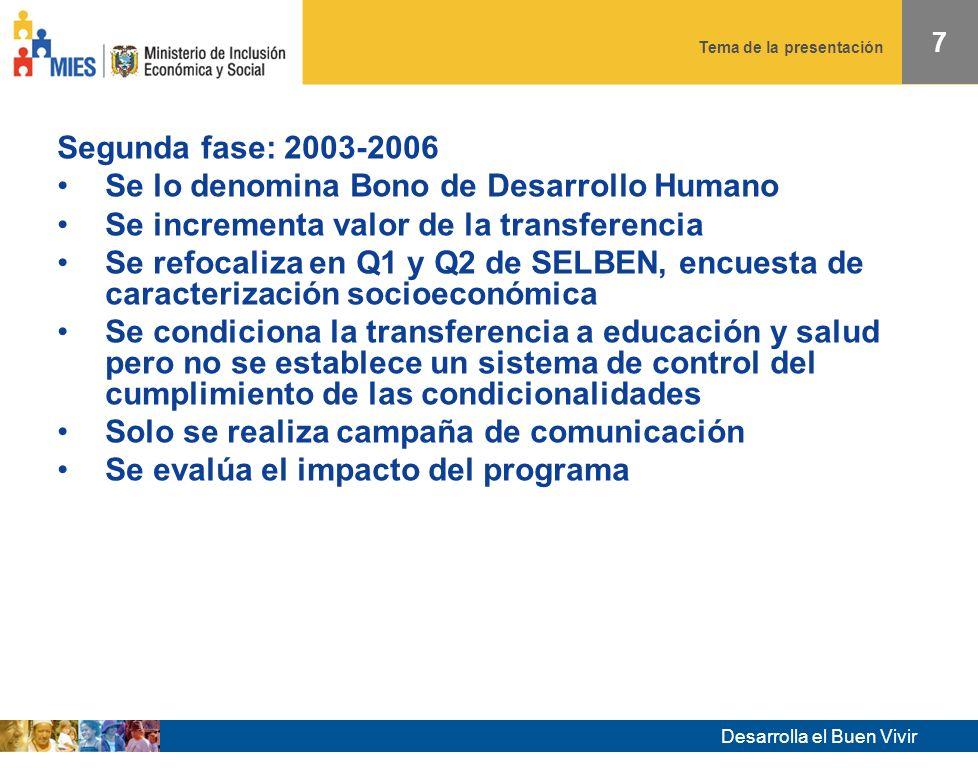 Desarrolla el Buen Vivir Tema de la presentación 37 El impacto se encontró solo en hogares mixtos (adultos hombres y mujeres) y no en hogares con solo mujeres.