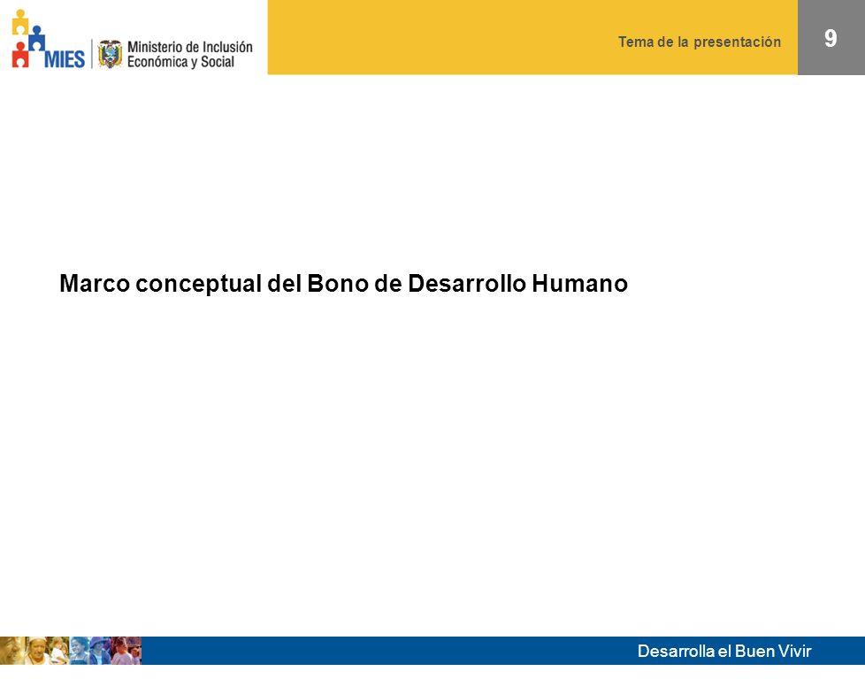 Desarrolla el Buen Vivir Tema de la presentación 8 Tercera fase: 2007- Se incrementa el valor de la transferencia Inicio progresivo de sistema de control de la corresponsabilidad en educación y salud.