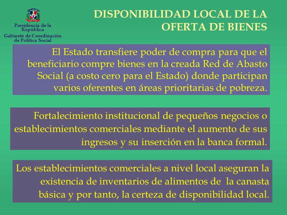 DISPONIBILIDAD LOCAL DE LA OFERTA DE BIENES Fortalecimiento institucional de pequeños negocios o establecimientos comerciales mediante el aumento de sus ingresos y su inserción en la banca formal.