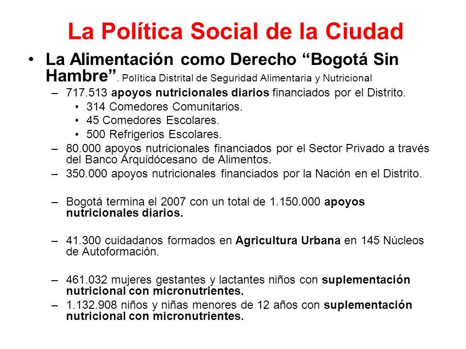 La Política Social de la Ciudad La Alimentación como Derecho Bogotá Sin Hambre. Política Distrital de Seguridad Alimentaria y Nutricional –717.513 apo