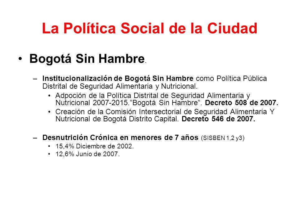 La Política Social de la Ciudad Bogotá Sin Hambre. –Institucionalización de Bogotá Sin Hambre como Política Pública Distrital de Seguridad Alimentaria
