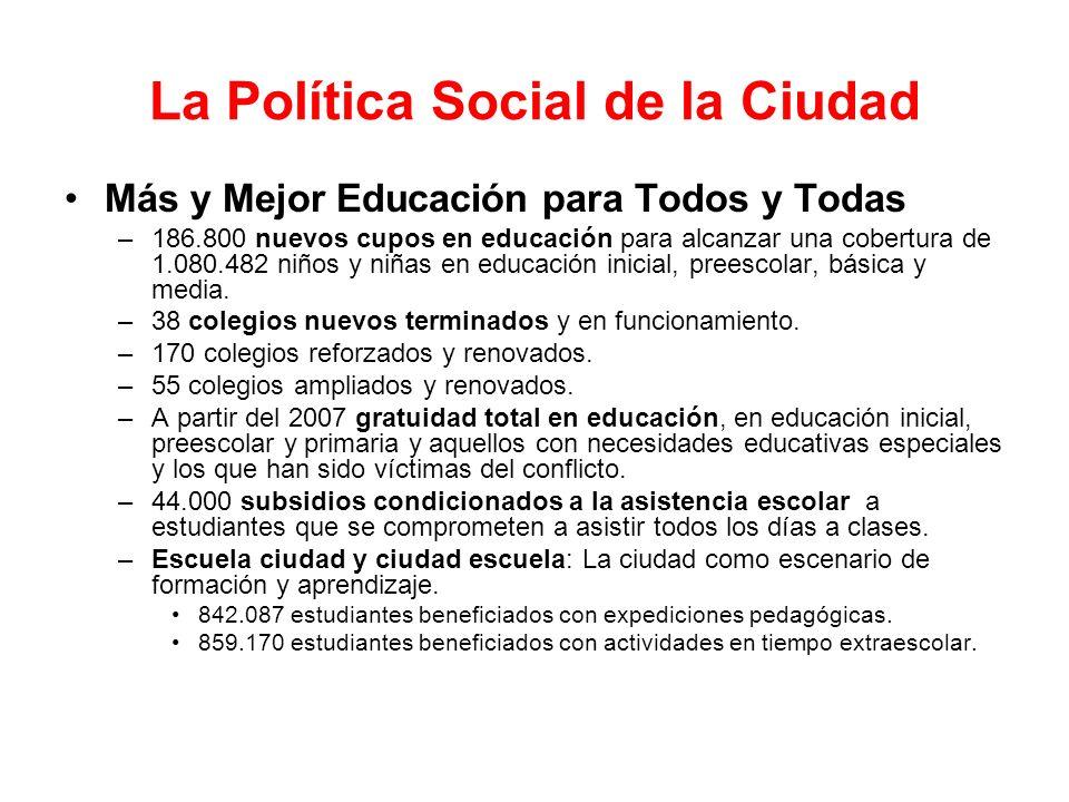 La Política Social de la Ciudad Salud Para La Vida Digna –336.531 cupos nuevos en cobertura del régimen subsidiado de salud para alcanzar 1.706.501 afiliados.
