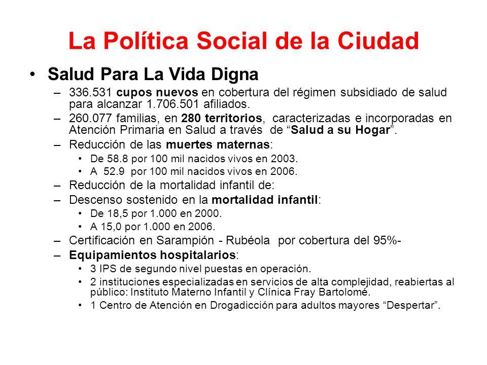 La Política Social de la Ciudad Salud Para La Vida Digna –336.531 cupos nuevos en cobertura del régimen subsidiado de salud para alcanzar 1.706.501 af