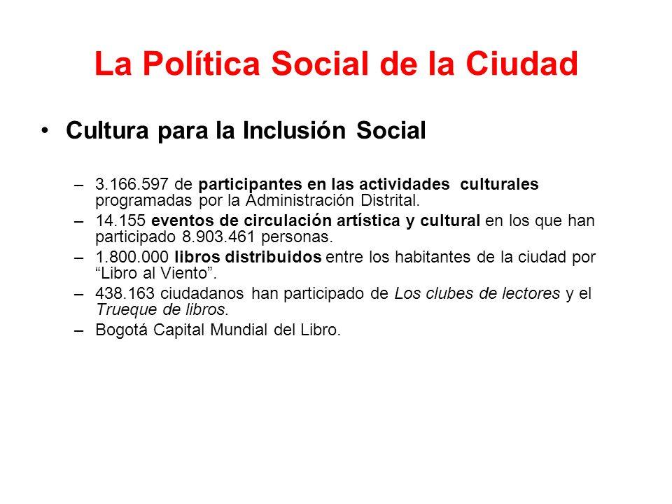 La Política Social de la Ciudad Cultura para la Inclusión Social –3.166.597 de participantes en las actividades culturales programadas por la Administ