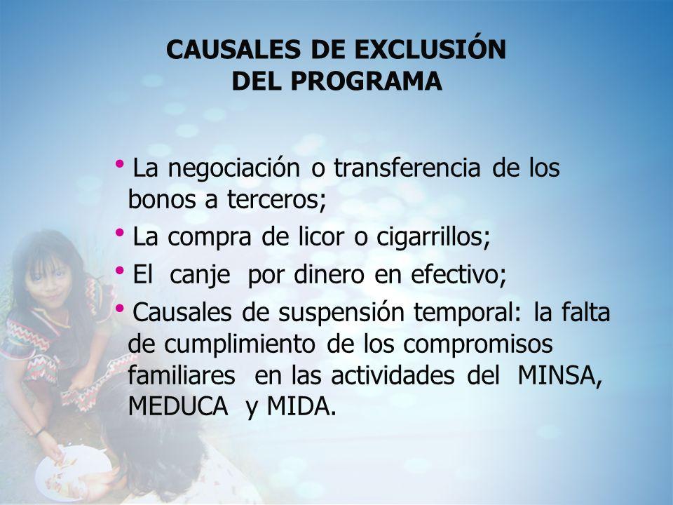 CAUSALES DE EXCLUSIÓN DEL PROGRAMA La negociación o transferencia de los bonos a terceros; La compra de licor o cigarrillos; El canje por dinero en ef